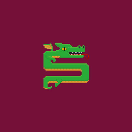Pixel art asian styled dragon on red background
