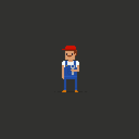 Pixel art plumber with moustache in red cap and blue overalls holding the wrench