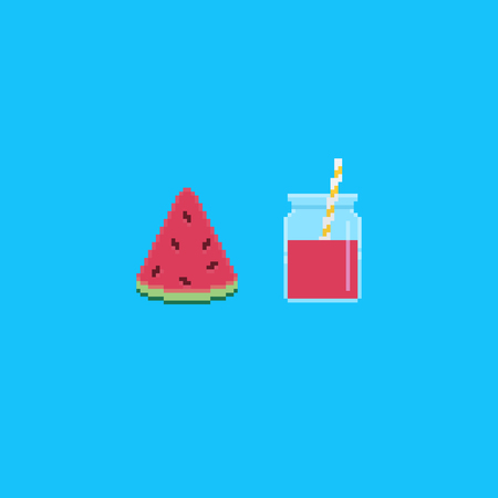 Pixel art watermelon slice and jar with smoothie