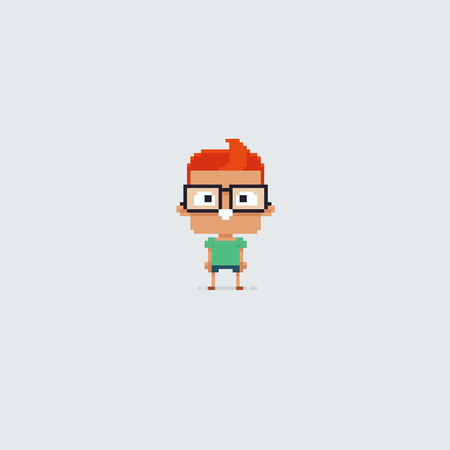 Pixel art clever school boy in big glasses Ilustrace