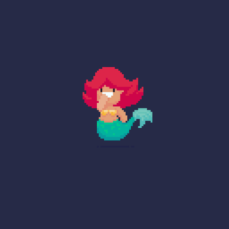 Pixel art 8-bit smiling mermaiid with pink hair on dark background