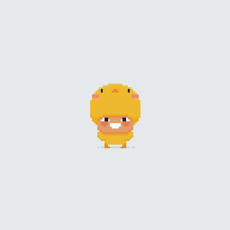 Pixel art happy kid in chick costume isolated on white background