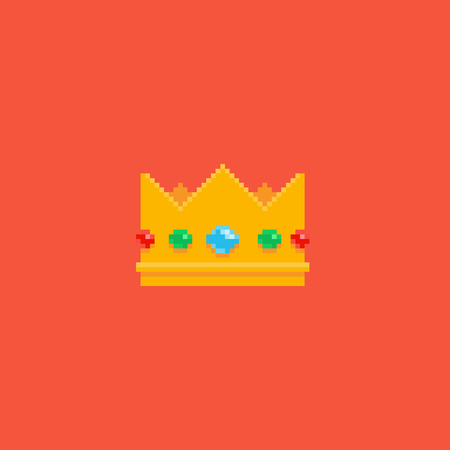 Pixel art golden crown with jewels isolated on red background