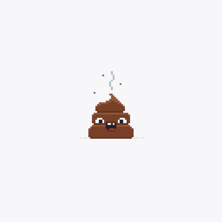 Pixel art stinky poop character isolated on white background Reklamní fotografie