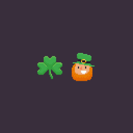 Pixel art art shamrock and leprechaun with red beard in green cylinder