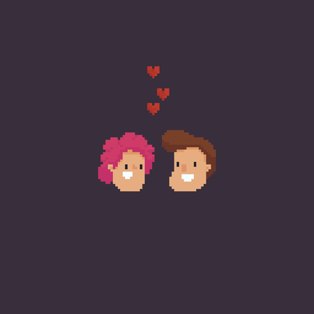 Pixel art couple, smiling woman and man heads with flying hearts Reklamní fotografie