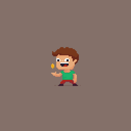 Pixel art happy male character tossing a coin