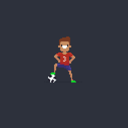 Pixel art soccer player standing with arms on his hips and leg on the ball Reklamní fotografie - 98354939