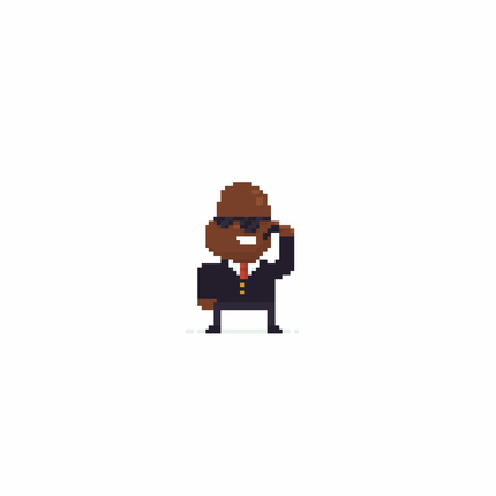 Pixel art black bodyguard character in sunglasses Ilustrace