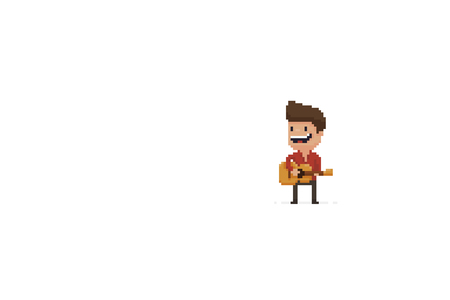 Pixel art male character performing with acoustic guitar
