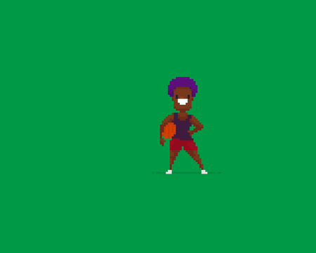 Pixel art female funky cheerful basketball player on green background