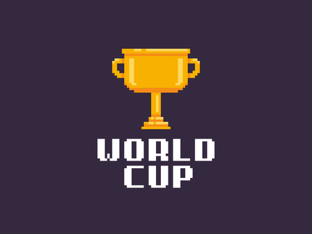 Pixel art golden trophy with world cup text on dark background
