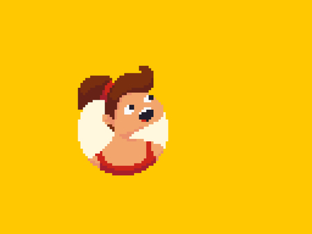 Pixel art surprised girl in red dress looking from a circle hole