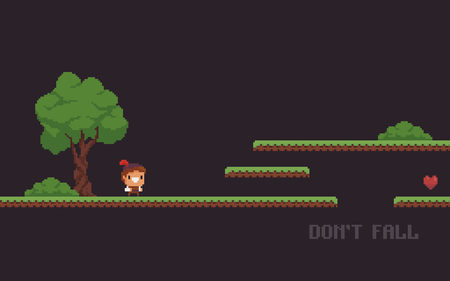 Pixel art game scene with character, tree, bushes, heart and grass platforms