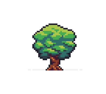Pixel art tree isolated on white background Ilustrace