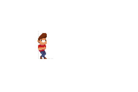 Pixel art male character leaning on the wall with his arms folded on the chest