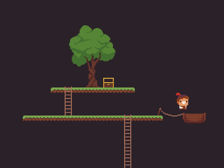Pixel art game scene with grass platforms, tree, open chest, ladders and character jumping into the wooden boat