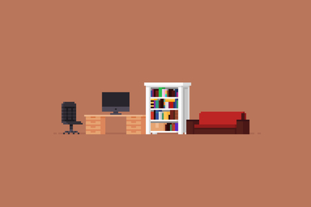 Pixel art room furniture with chair, table with personal computer, bookshelf and sofa Ilustrace