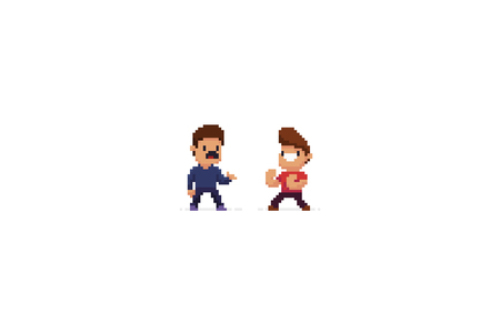 Two pixel art characters, avoiding fight and ready to fight Ilustrace