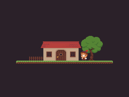 Pixel art game scene with grass platform, house, tree and happy character Ilustrace