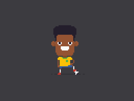 Pixel art soccer player standing with arms on his hips and leg on the ball