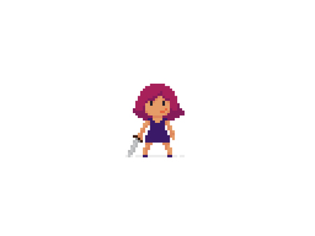 Pixel art girl with sword ready to fight Ilustrace