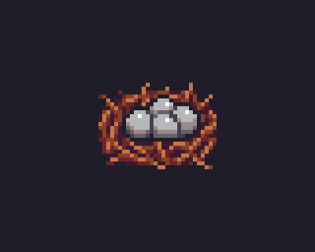 Pixel art bird nest with four eggs Ilustrace