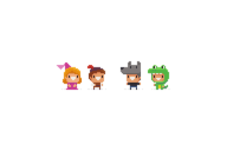 Pixel art funky fantasy game characters in halloween suits. Princess and her savior, wolf, dragon. Ilustrace