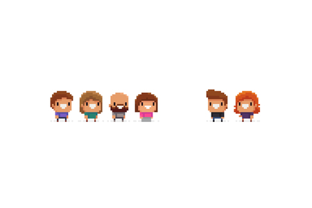 Group of pixel art office characters, male and female, isolated on white background Ilustrace