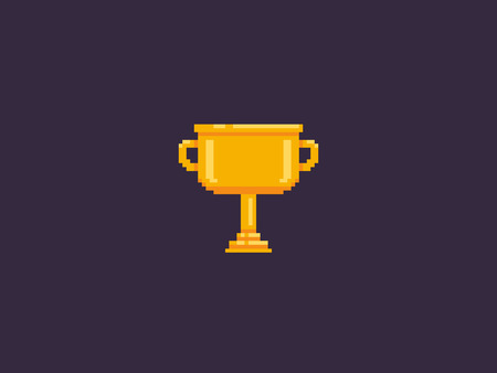 Pixel art golden cup trophy  on dark background