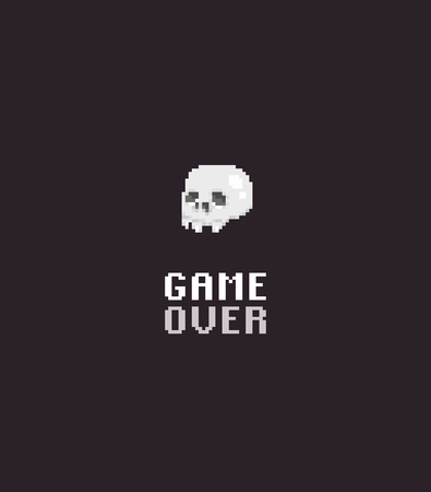 Pixel art skull with game over text on dark background