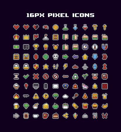 100 pixel art icons, different pictograms with hearts, potions, hand gestures, trophys, arrows, food and game symbols