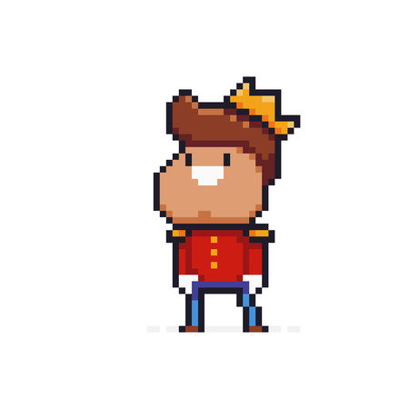 Pixel art smiling prince in red jacket with golden crown