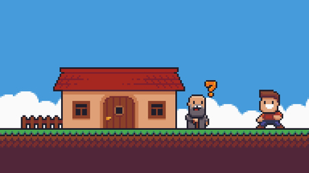Pixel art scene with cheerful character, old man with golden question mark above his head, house, grass terrain and sky with clouds