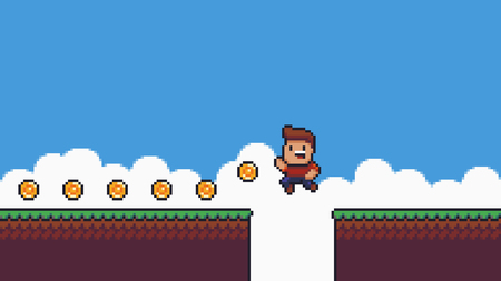 Pixel art summer scene, happy male character collecting gold coins, grass, clouds and sky