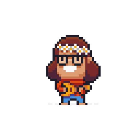 Pixel art hippie character holding ukulele Иллюстрация