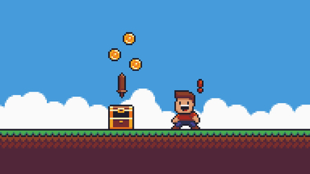 Pixel art scene. Grass, sky, clouds, happy surprised male character with red exclamation mark, open chest with coins and wooden sword Ilustrace