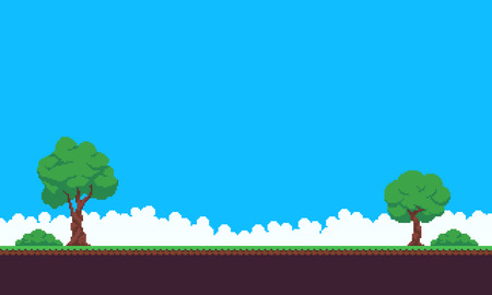 Pixel art game scene with sky, grass, tree, bush and clouds