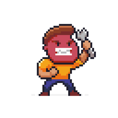 Pixel art angry male character, mechanic with red face holding wrench