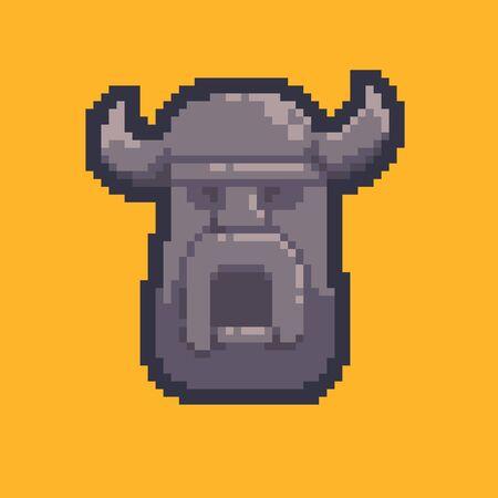 Pixel art stone angry screaming viking head
