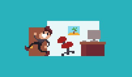 Pixel art male character running away from workplace Vektoros illusztráció