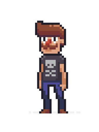 Pixel art funky moustache male character in black t-shirt with skull