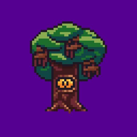Pixel art tree with chairs hanging from it and yellow eyed creature in hollow