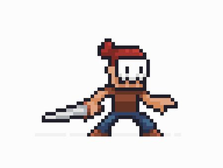 Pixel art warrior in skull mask staying in battle stance