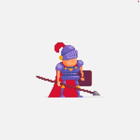 Pixel art spearman with shield wearing armor and helmet