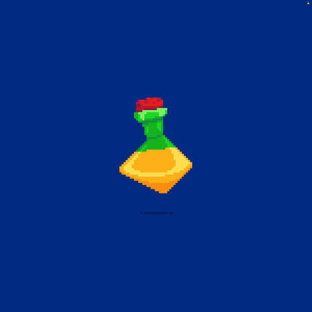 Pixel art isolated icon of yellow colored potion