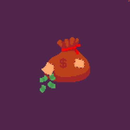 Pixel art money bag with a breach and falling away cash Иллюстрация