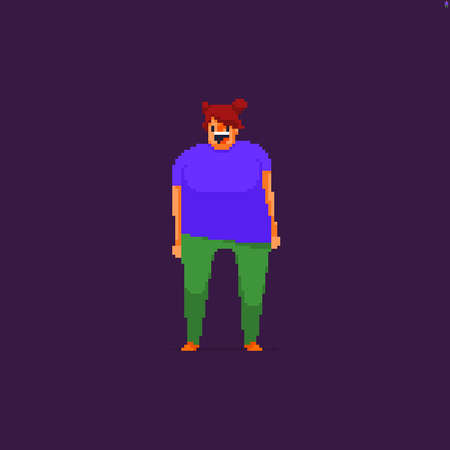 Pixel art happy large build girl character isolated on dark background