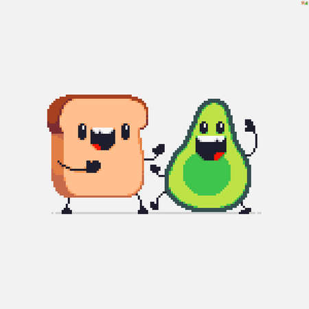 Pixel art bread loaf and avocado cute characters greeting each other Иллюстрация