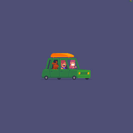 Pixel art isolated green car with happy people dog inside